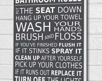 Bathroom Rules Wall Picture Bathroom Wall Art Canvas Print Dark Grey A1/A2/A3/A4