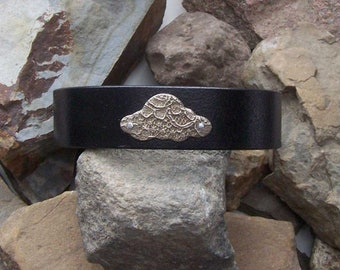 Custom Leather Cloud Bracelet, Gift for Him Her, 3rd Anniversary, Gift For Dad Grad, Pilot Skydiver, Meditation Gift
