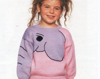 baby toddler childrens elephant sweater knitting pattern 20-25 inch DK baby knitting pattern PDF instant download