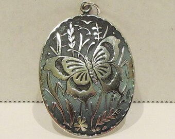 Large Etched Butterfly Pendant
