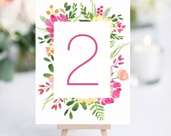 Watercolour Floral Pastel Wedding Table Numbers