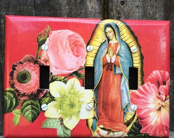 Triple Switch Plate Cover Virgin with Flowers