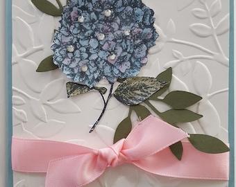 Blue Hydrangea Birthday Card HB11
