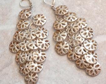 Sand Dollar Earrings Large Sequins Coins Disks Chandelier Gold Tone Lever Back Wires V0745