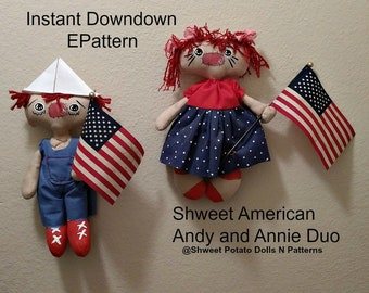 Shweet Americana Duo Annie Andy Digital Instant Sewing ePattern Primitive Whimsical 2018 Revised Updated