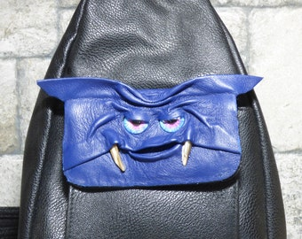 Leather Backpack Woman Purse With Face Monster Harry Potter Labyrinth Blue Black 428