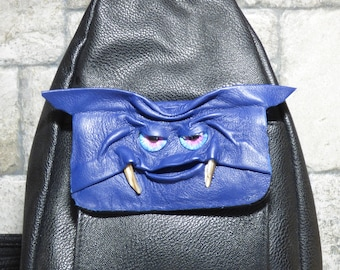 Leather Backpack Woman Purse With Face Monster Blue Black 428
