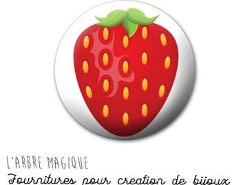 Cabochon 25 mm Strawberry red ref fruit 741 fancy
