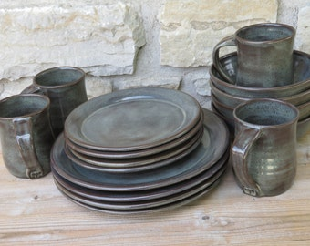 Pottery Dinnerware service for four handmade dishes & Wedding Dinnerware Registry Dinnerware Ceramic Dishes Clay