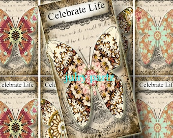 2x4 RASPBERRY BUTTERFLIES Celebrate Life, Printable Digital Images, Cards, Gift Tags,Bookmarks, Magnets