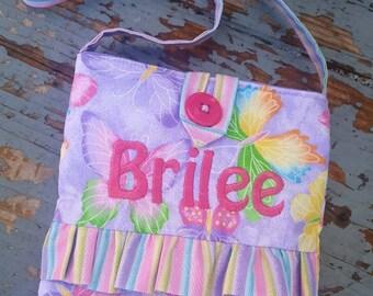 Toddler Purse, Butterfly Purse, Little Girl's Purse, Girl's Purse with Heart Ruffle, Easter Purse, Flower Girl Purse, Lavender Purse