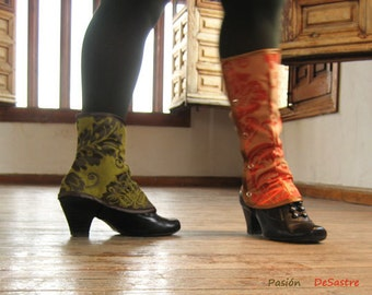 Tall Spats Waterproof victorian steampunk Gaiters one size spat brocade damask