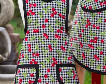 Sale - Mommy & Me and Me Vintage Style Retro - Checkered Cherries