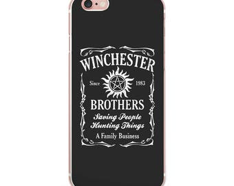 Supernatural Winchester Brothers Saving People Hunting Things The Family Business iPhone 7 7Plus 6 6S Plus 5 5S SE Soft Silicone Case