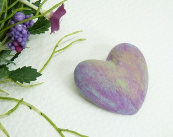 Concrete brooch heart in fresh spring colors-Gift