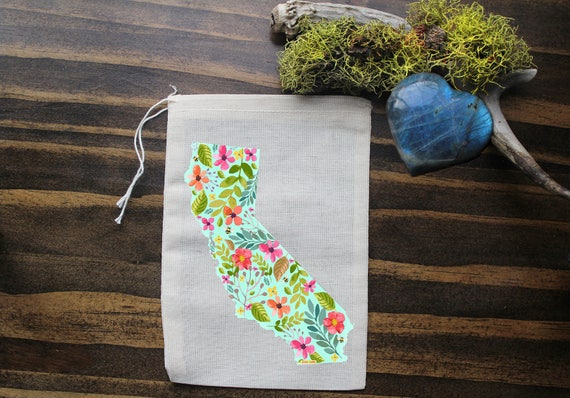 California Muslin Bags - Art Bag - Pouch - Gift Bag - 5x7 bag - Crystal Pouch - Party Favor - Packaging - California State Love