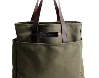 Travel Tote - Water Resistant Cotton Duck - Forest Green - Made in the U.S.A.