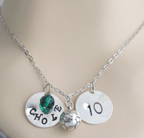 Soccer Necklace  Personalized Soccer Jewelry  Coach Gifts Soccer Mom School Team Colors Initial, Birthstone Necklace Free Shipping In USA