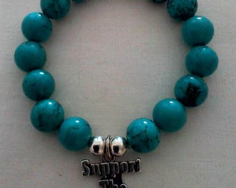 turquoise support the troops beaded bracelet