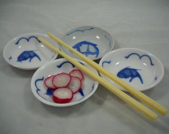 Condiment Set Four Small Bowls Blue & White Carp Dishes Sushi Set/Finger Bowls/Dipping Dish/Soy Sauce Bowls/Housewarming/Christmas/New Years