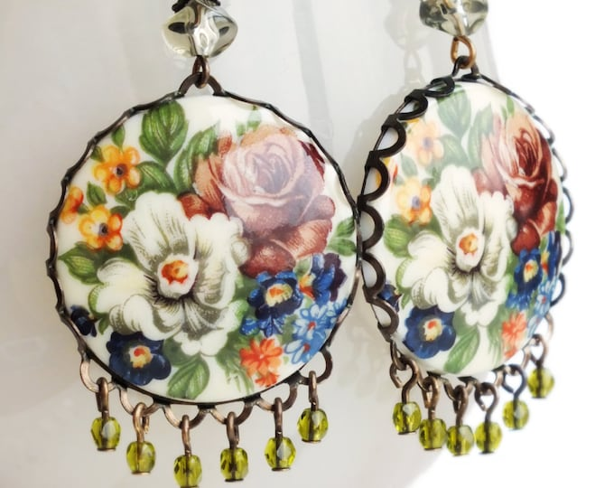 Large Rose Chandelier Earrings Vintage Victorian Floral Cameos Statement Jewelry Vintage Style Dangles