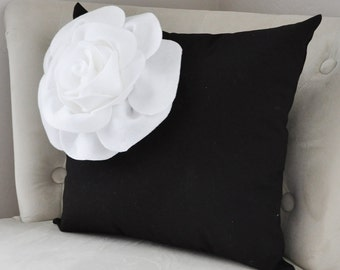 Black and White Corner Rose Pillow Cover , Flower Pillow Cushion , Black & White Pillow , Housewares, Throw Pillow, Nursery, Textured Pillow