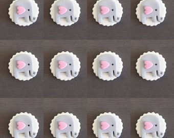 12 x Elephant Cupcake Toppers - Mini, Edible cupcake toppers, Fondant cake decorations, elephant toppers, baby shower decorations