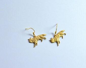 Brass fox earrings