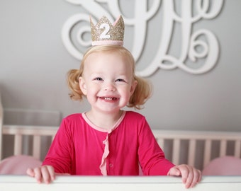 2nd Birthday Crown | 2nd Birthday Outfit Girl | Second Birthday Outfit Girl | Birthday Hat | Birthday Crown Girl | Gold Pink White