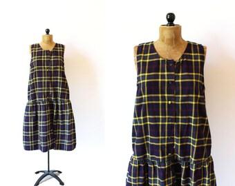 vintage dress 80's oversized plaid navy blue jumper 1980's women's clothing size medium m