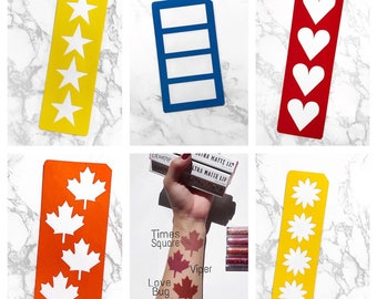 4 Section Makeup Swatch Stencil (Star, Heart, Leaf, Rectangle or Flower)