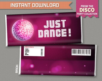Disco Party Chocolate Wrappers - INSTANT DOWNLOAD - Disco Candy Bar Wrapper - Disco Decor - Edit and print at home with Adobe Reader