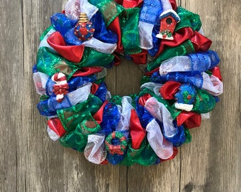 """8"""" Charming Blue/Green/Red/White Christmas Ornament Wreath"""