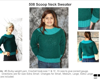 Scoop Neck Sweater Crochet Sweater Pattern   508