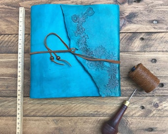 Custom leather journal turquoise travel diary, artistic journal medium blue, for women travelers, with flower paper, with mixed media papers