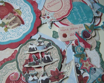set of 50 die - cut, labels and tags on the theme of Christmas with birds, snowflakes, Christmas trees