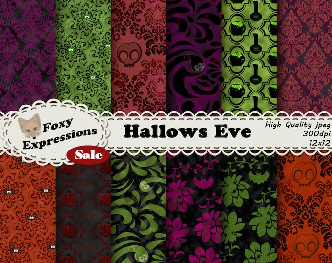 Hallows Eve Digital paper comes in chilling damask. Look closely, haunting things hide in each design like eyes, skulls, bats,spiders & more