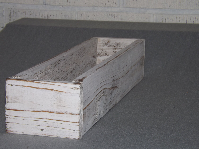 Herb planter trough wood box table centerpiece