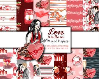 "Valentine's day / Romantic date:  digital paper pack (12 9""x9"" seamless patterns @ 300 DPI)"