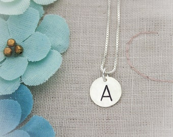 Simple and Sweet Sterling Silver Initial Monogram Necklace Hand Stamped Jewelry