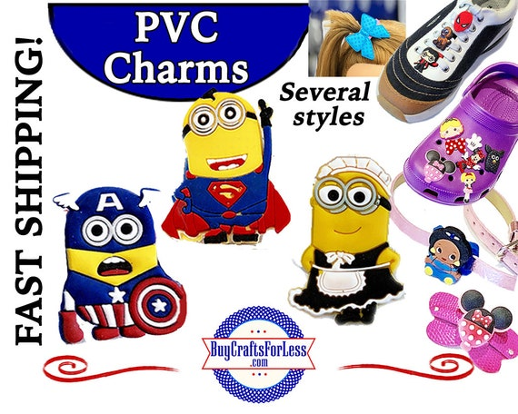 PVC Charms, Minions  * 20% OFF Any 4 PVC Charms * 99cent Shipping * For Shoes, Hair, Pins-Choose back-Button, Pin, Slider, Hair Clip, Velcro