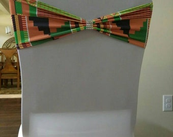Kente #2 Wedding Spandex Chair Band with rhinestone/Kente Chair Covers/ Kente cloth fabric for African Events/Decorate with Kente Cloth