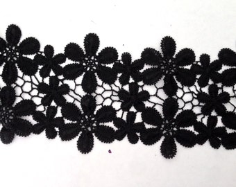 1 Yard Black Venice Lace Floral Venise Trim 4 1/4 inch Wide SHIPS FROM USA