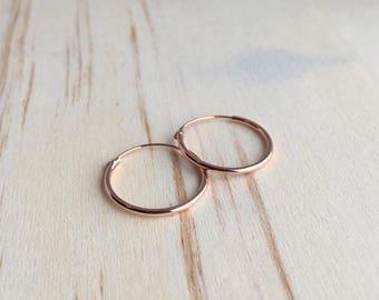 16mm Rose Gold Hoop Earrings - Rose Gold Plated - tiny hoop earrings - cartilage hoop earrings - silver hoop earrings - gold hoop earrings