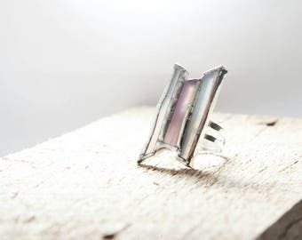 Pink and white stained glass ring