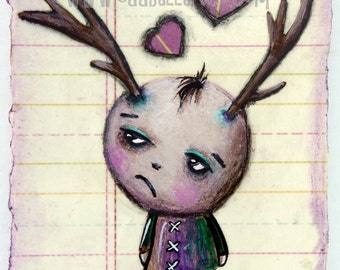 Mixed Media Big Eye Art Giclee Print Signed Reproduction Shy Boy Had A Bad Day by Lizzy Love [IMG#104]
