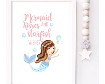 Mermaid kisses and Starfish wishes Girls Nursery print