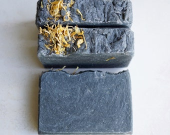 Black Dahlia Naturally Lovely Soap Bar -  All Natural Lemongrass and Tea Tree Essential Oil Soap - with Activated Charcoal and Calendula