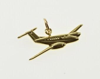 14K Stylized Jumbo Jet Airplane Aviation Charm/Pendant Yellow Gold