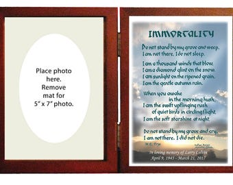 Sympathy Memorial Gift personalized -hinged frame. Beautiful gift to remember a loved one